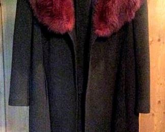 APT008 Cashmere Coat with Fox Fur Collar