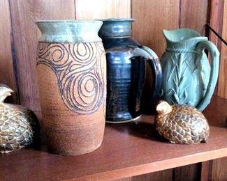 APT031 Trio of Vases & Ceramic Figurines