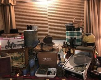 Vintage Stetson Hats ~ Vintage Coolers & Tackle Boxes ~ Vintage Paint By Number Paintings