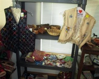 2nd Floor:   Indian Baskets, Indian Beaded Bags, Indian Blankets,  Indian Vests.