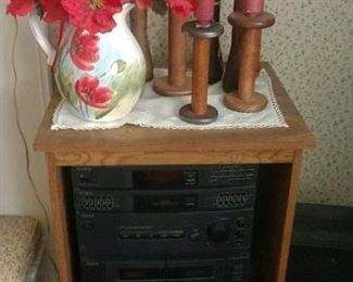 Really neat wood spool candle sticks