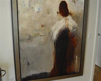 6 foot tall original painting -  Title:  Angel Backwards.  Artist:  KMD