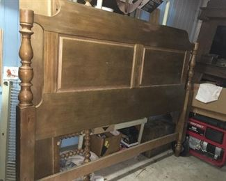 King size bed in restoration process, mostly complete.  Have finials and complete footboard as well as rails.