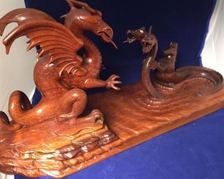 Hand carved dragon sculpture