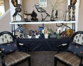 Matching Occasional Chairs, Home Decor. Large Metal Crow Figures