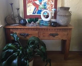 Rustic Elmwood console table, Chagall numbered print, Vintage green glassware, Primitive Urn
