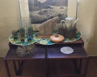 Signed and numbered photographs, gorgeous set of three rosewood tables, vintage gilt decorated tumblers, Native American sculpture of a bird head, wonderful gilt decorated bookends