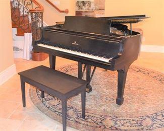 "STEINWAY 5'1"" EBONY PIANO WITH BENCH"