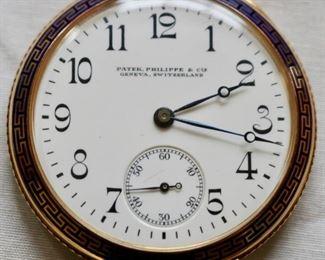 Patek Phillipe 18k gold and greek key guilloche pocketwatch