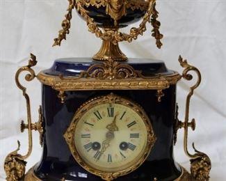 French Ormolu and Cobalt Enamel Rococo Mantle Clock
