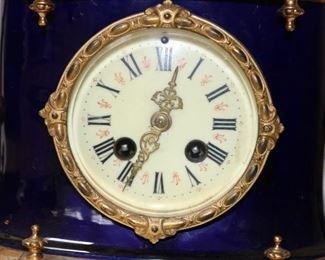 Ormolu and Cobalt Enamel Rococo Mantle Clock