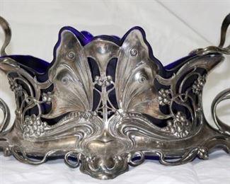 Art Nouveau Silverplate and Cobalt Insert Centerpiece