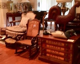 Spool Cabinet, Child's Rocker, Carved Rooster, Duck Decoy, Brass Oil Lamp, French Style Arm Chair, Foot Stools