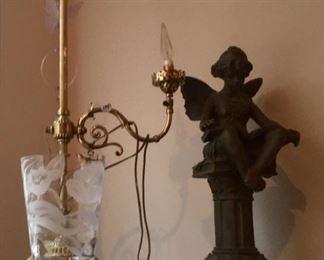 Brass Lamp Etched Crystal Vase, Spelter Cherub