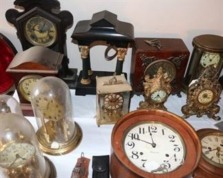 Vintage watches from Du Bois et Fils, Ingersoll, Waltham, Elgin, Hamilton, Bulova, Gruen, Burlington, Timex, Sovereign, Douglas, and others. 19th and 20th century case clocks from Ansonia, Ingraham, Waterbury Clock Co., Seth Thomas, Howden, New Haven Clock Co., Smiths, W.M. L Gilbert, Western Clock Co., Sessions, and others. Large quantities of watch parts, tools, movements, and repair supplies.