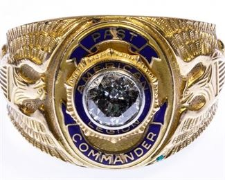14k Gold and Diamond American Legion Ring