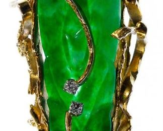 14k Gold Jadeite Jade and Diamond Brooch