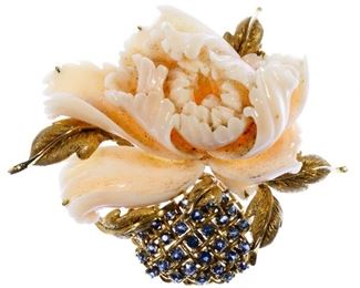 14k Gold Coral and Sapphire Brooch