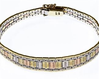 14k Tri color Gold Bracelet
