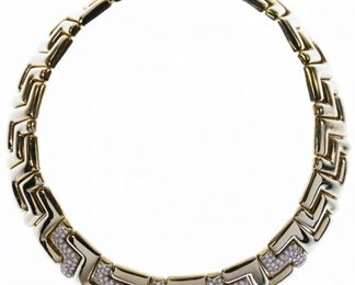 18k Gold and Diamond 18mm Wide Choker Necklace