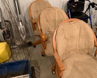 3 side chairs on rollers