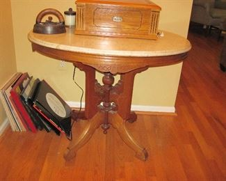 Vintage Marble Top Table, Record Player, Records