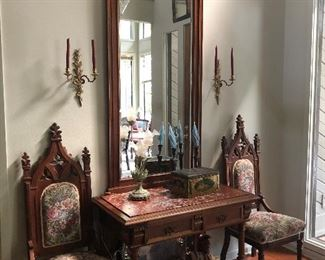 2 matching chairs, mirror and entrance table.