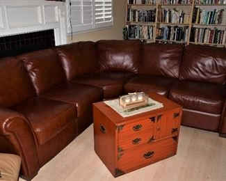 . Pebble Grain Leather 3 piece Curved Sectional Sofa and China Red Storage style Chest