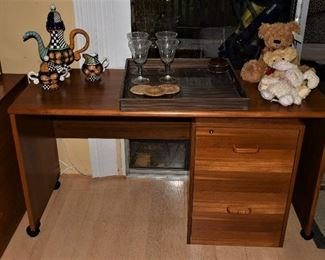.Danish Teak Modern Office Furniture by Poul Hundevad Desk on Caster and 2 Drawer File with Key 2 of 11 Modular Pieces