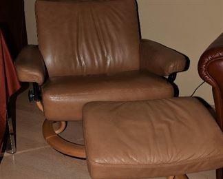 .Scandinavian Modern Ekornes Stressless Recliner Chair and Ottoman