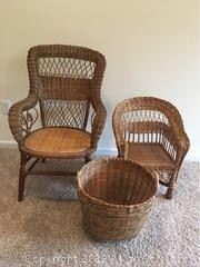Large Vintage Wicker Chair by Heywood Wakefield. Small wicker Childs chair and a basket.