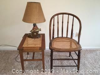 Caned Chair And Table, Chalkware Cannon Lamp