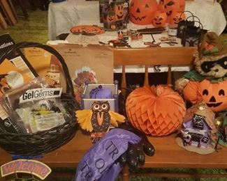 Halloween Decorations and bench