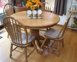 Oak clawfoot pedestal table, oak chairs
