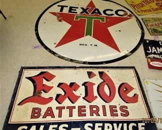 6ft Texaco Porcelain gas station sign & Embossed Exide Battery Sign