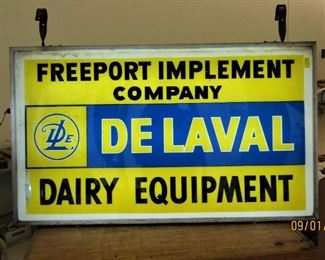 Lighted two-sided Delaval sign
