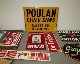 Embossed Poulan chainsaw Sign, Dr.Pepper Sign & Cavalier cigarette sign