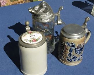 GREAT BEER STEIN COLLECTION.  GOEBEL ON RIGHT.