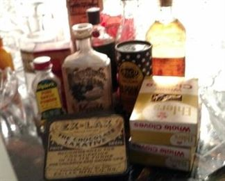 Vintage bottles and store items