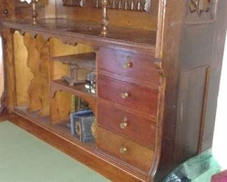 Beautiful European drop leaf desk with fabulous carvings and features