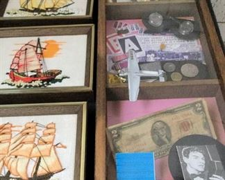 HMT008 Shadow Box & Stitched Boat Art