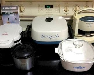 HMT116 Corningware, Shell Baker, Electric Sauce Server, Electric Skillet & Jar Opener