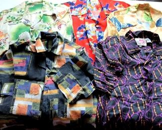 HMT192 Five Vintage Men's Silk Shirts