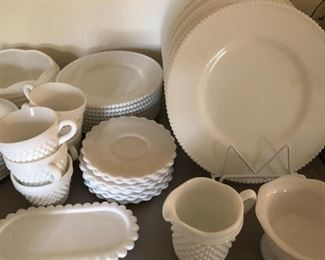 milk glass dish set