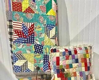 Colorful Vintage Quilt & Pillow https://ctbids.com/#!/description/share/257185