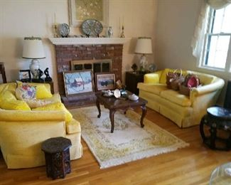 Wonderful Lemon Yellow love seats, folding coffee table, Rose Medallion, Paintings...
