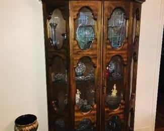 Dining Room Display Cabinet, Full of Glass of all types, Majolica Planter and Stand