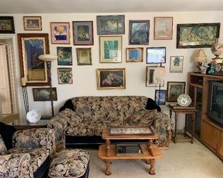 antique prints, floor lamps, art deco sofa set, coffee table, oils lamps, tables lamps