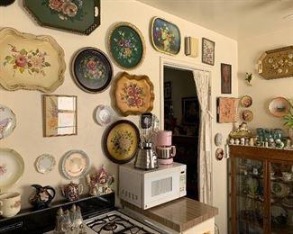 vintage floral tin trays