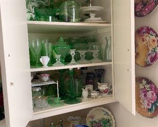 antique green glassware, dish sets